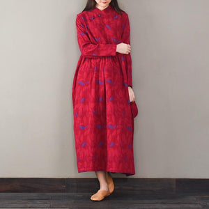 Women Jacquard cotton o neck quilting dresses Photography red Robe Dresses