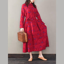 Load image into Gallery viewer, Women Jacquard cotton o neck quilting dresses Photography red Robe Dresses