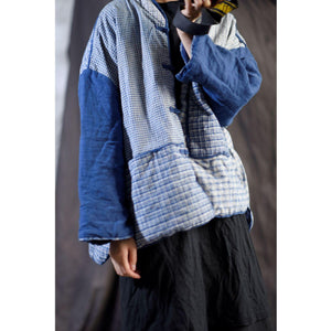 Omychic Loose Patchwork Plaid Padded Coat Parkas Ladies Vintage Spliced Coat Outerwear Female 2020 Autumn Winter Coat