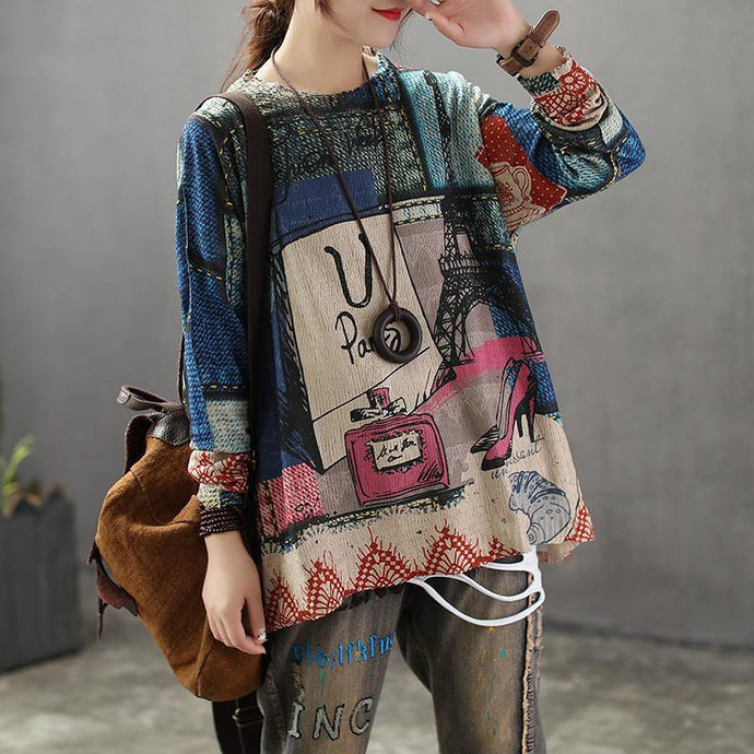 Women New Casual Knitted Cotton Printing Sweater