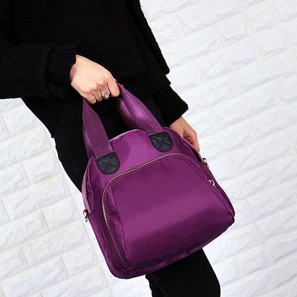 Women Nylon Casual Handbag Shoulder Bag Purple Crossbody Bags