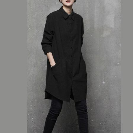 Women POLO collar cotton fall tunic pattern Sleeve black blouse