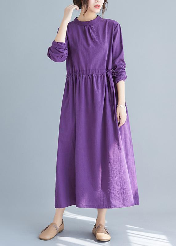 Women Purple Tunics Stand Collar Drawstring Spring Dress