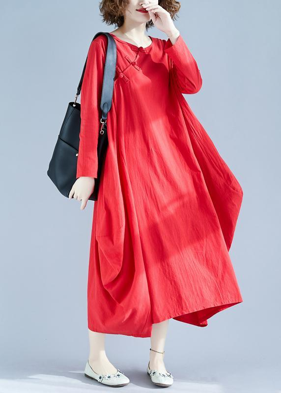 Women Red Outfit O Neck Asymmetric Robes Spring Dress