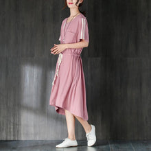 Load image into Gallery viewer, Women Round Neck Short Sleeve Lacing Pink Dress