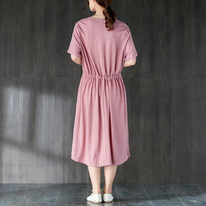 Women Round Neck Short Sleeve Lacing Pink Dress
