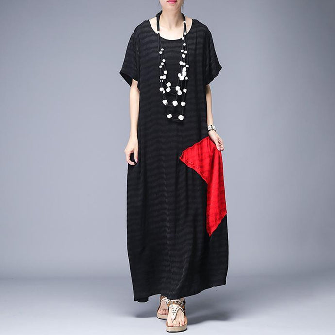 Women Silk Wardrobes Mom Patchwork Design Casual Elegant Maxi Dress