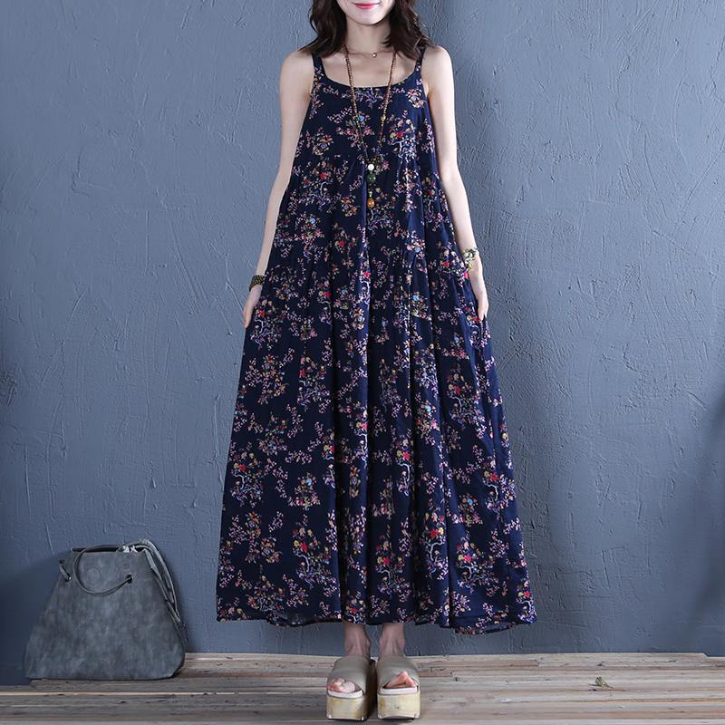 Women Spaghetti Strap wrinkled cotton dresses Work Outfits navy print Dress summer