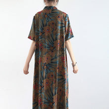 Load image into Gallery viewer, Women Stand asymmetric silk blended outfit Korea Sleeve floral Maxi Dresses