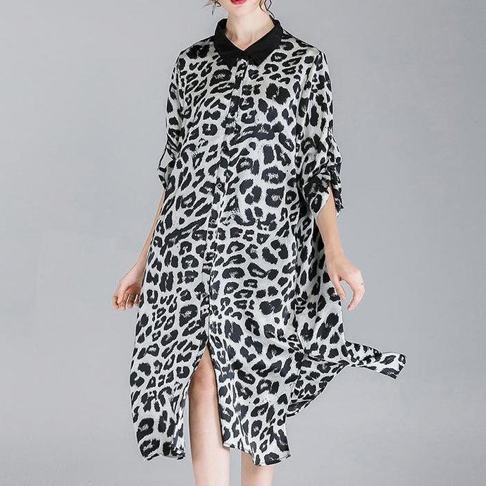 Women Summer New Leopard Chiffon Print Plus Size Dress