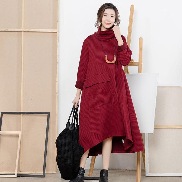 Women Sweater dress outfit Refashion high neck exra large hemred Hipster knit dress