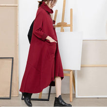 Load image into Gallery viewer, Women Sweater dress outfit Refashion high neck exra large hemred Hipster knit dress