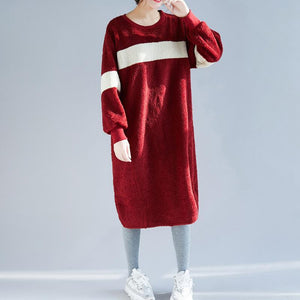 Women Sweater dress outfit o neck pockets burgundy baggy knitwear