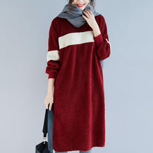 Load image into Gallery viewer, Women Sweater dress outfit o neck pockets burgundy baggy knitwear