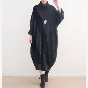 Women Sweater outfits Street Style high neck baggy dresses black Hipster knitwear