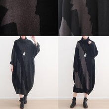 Load image into Gallery viewer, Women Sweater outfits Street Style high neck baggy dresses black Hipster knitwear