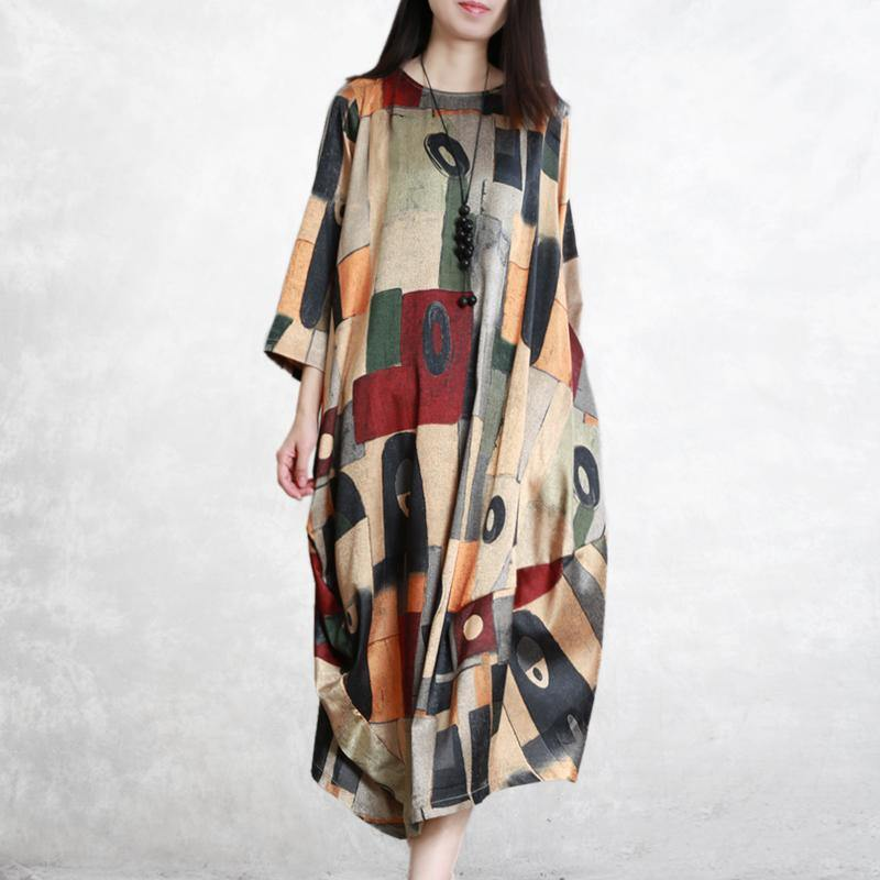 Women asymmetric cotton dress yellow Maxi Dresses prints