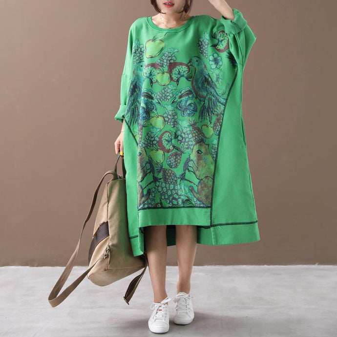 Women asymmetric hem cotton o neck tunics for women Fabrics green prints cotton Dresses