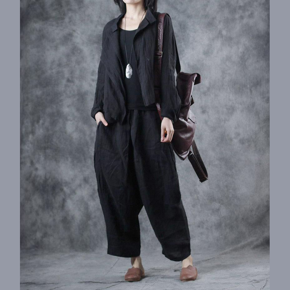 Women asymmetric linen outwear For Women Tutorials black stand collar coats fall
