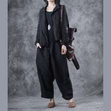 Laden Sie das Bild in den Galerie-Viewer, Women asymmetric linen outwear For Women Tutorials black stand collar coats fall