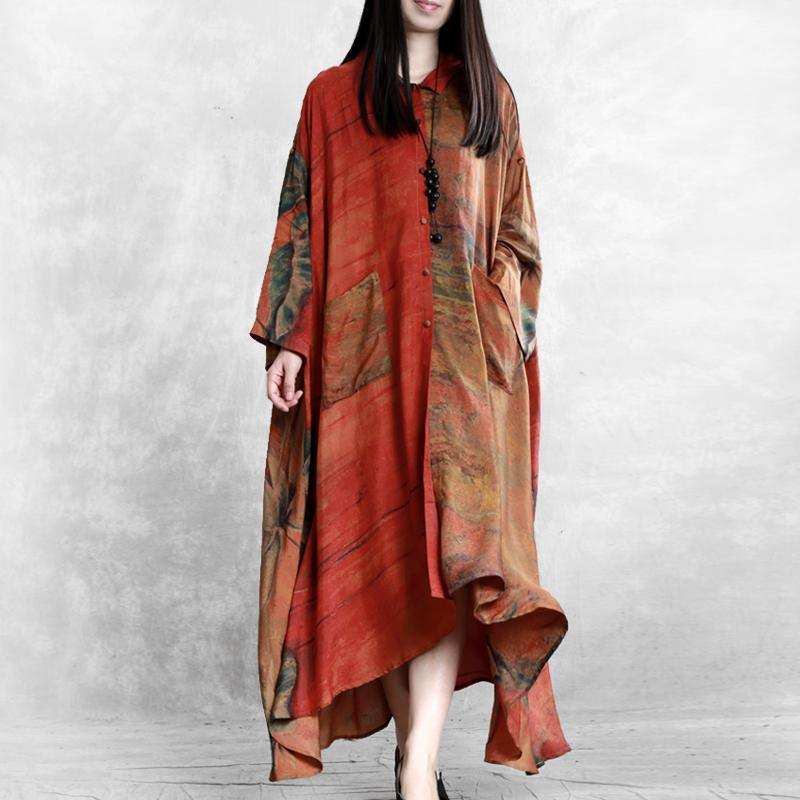 Women asymmetric pockets Plus Size clothes For orange print loose coats