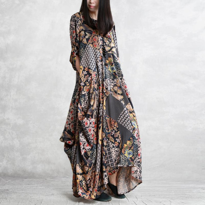 Women asymmetric silk outfit top quality Sleeve prints Kaftan Dress spring