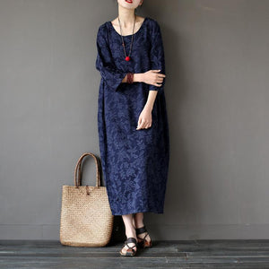 Women back open cotton jacquard clothes Sleeve navy o neck Art Dress