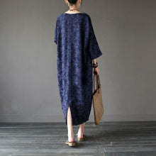 Load image into Gallery viewer, Women back open cotton jacquard clothes Sleeve navy o neck Art Dress