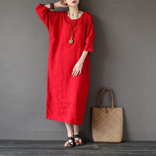 Load image into Gallery viewer, Women back open cotton spring quilting clothes Sleeve red jacquard Maxi Dresses