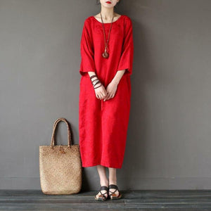 Women back open cotton spring quilting clothes Sleeve red jacquard Maxi Dresses