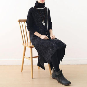 Women black Sweater weather Classy Hipster high neck asymmetric knit top