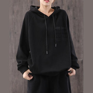 Women black cotton Blouse hooded alphabet shirt