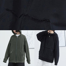 Load image into Gallery viewer, Women black cotton clothes hooded box fall short coat