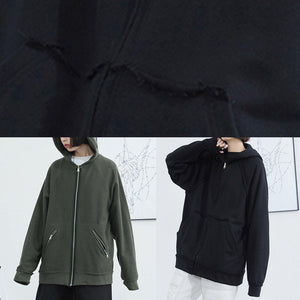 Women black cotton clothes hooded box fall short coat