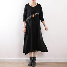 Load image into Gallery viewer, Women black cotton outfit Fine Fashion Ideas Art spring o neck Dress