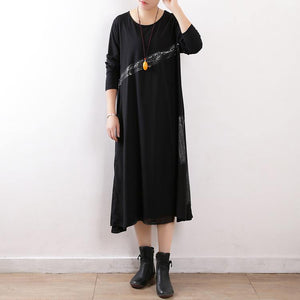 Women black cotton outfit Fine Fashion Ideas Art spring o neck Dress