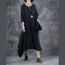Load image into Gallery viewer, Women black linen cotton dress o neck patchwork Maxi Dress