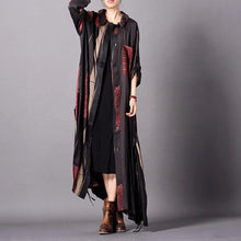Laden Sie das Bild in den Galerie-Viewer, Women black print silk dress Fitted design lapel Kaftan Summer Dresses