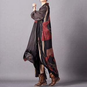 Women black print silk dress Fitted design lapel Kaftan Summer Dresses