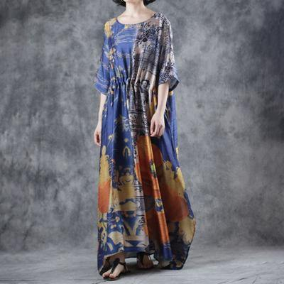 Women blended Robes Pakistani Summer Printed Baggy Waist Casual Dress