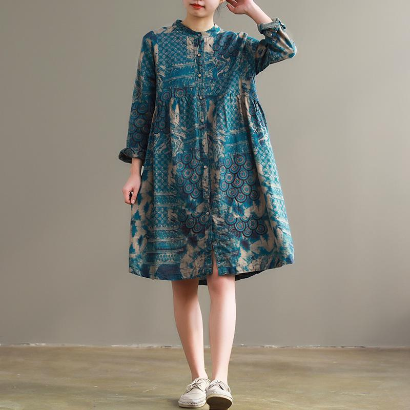 Women blue floral cotton Long Shirts Vintage Fabrics stand collar pockets cotton Dresses