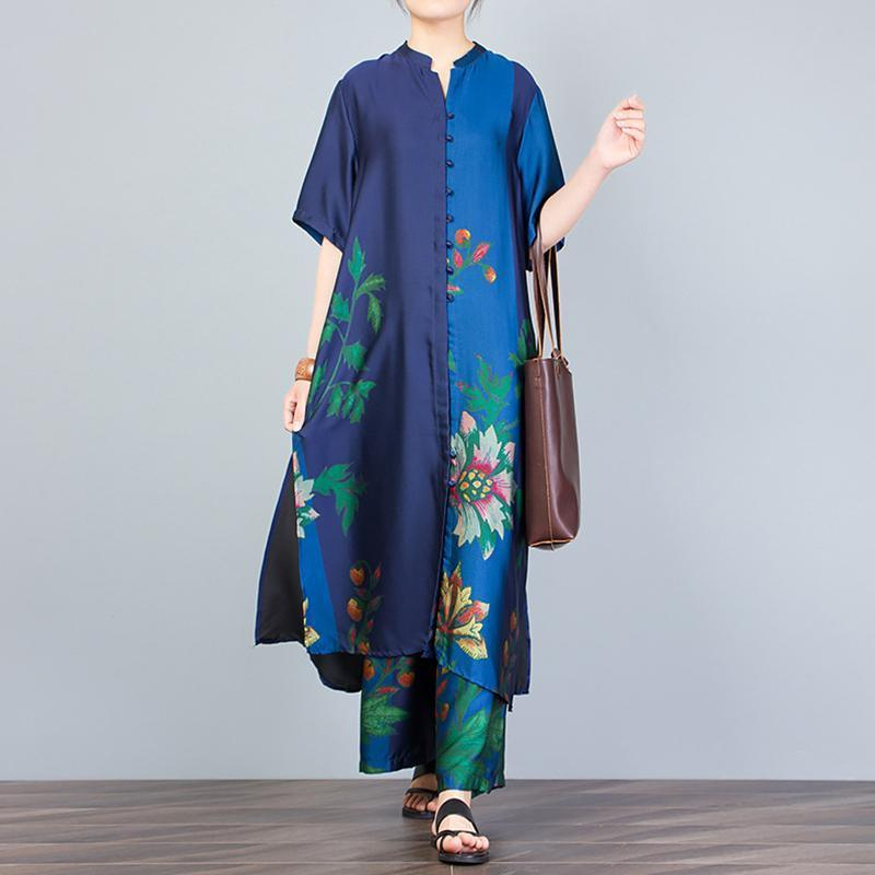 Women blue outfit Women Print Stand Collar Blouse And Wide Leg Pants