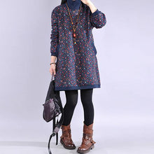 Load image into Gallery viewer, Women blue print Cotton Tunics high neck thick baggy Dresses