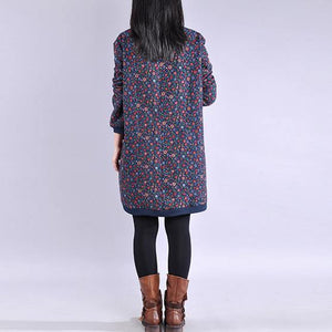 Women blue print Cotton Tunics high neck thick baggy Dresses