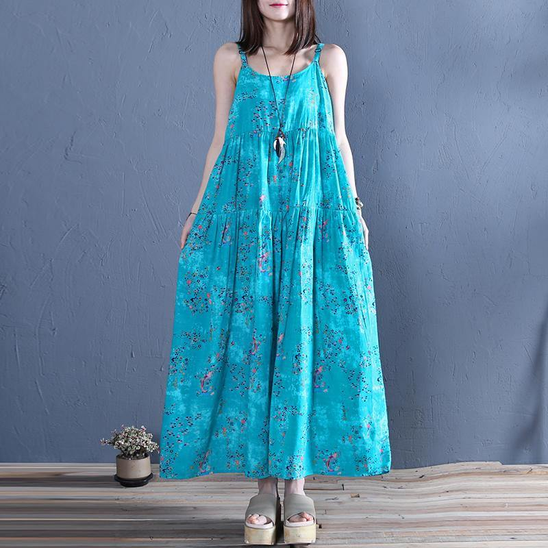 Women blue print cotton clothes Spaghetti Strap Traveling summer Dress