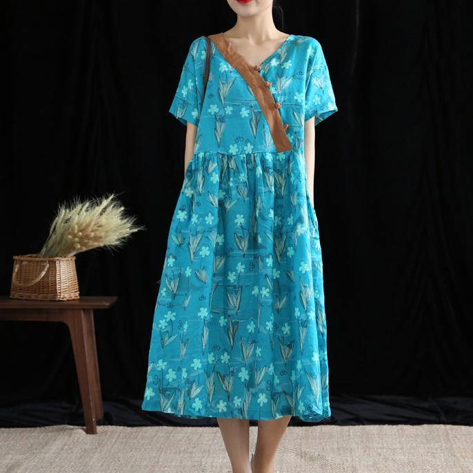 Women blue print linen dresses v neck wrinkled Robe Dress