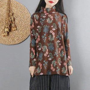 Women chocolate print cotton linen tops women high neck cotton fall blouses