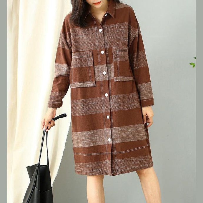 Women chocolate striped Cotton dresses lapel pockets Plus Size fall Dress