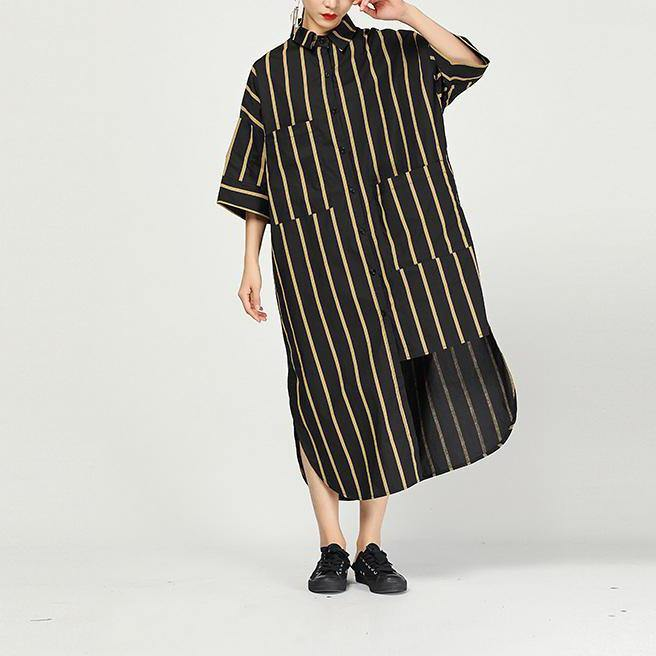 Women cotton Robes Plus Size Women Stripe Short Sleeve Irregular Dress
