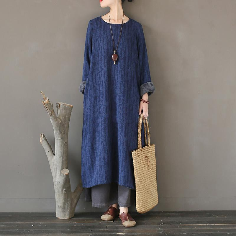 Women cotton Robes o neck asymmetric Online Shopping blue Plus Size patchwork Clothing Dress